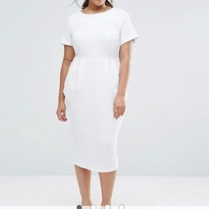 Textured White Wiggle Dress with Pockets